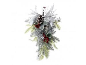 Χιονισμένο Χριστουγεννιάτικο Κλαδί με Κουκουνάρια 60 εκ.