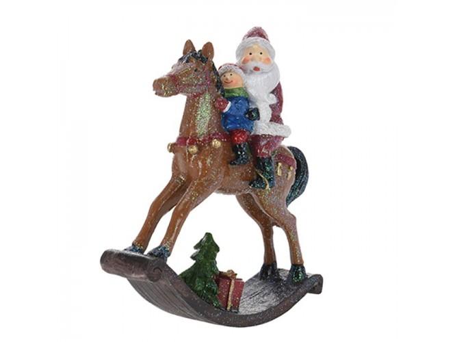 Κουνιστό Αλογάκι με Άγιο Βασίλη και παιδάκι 13 εκ.