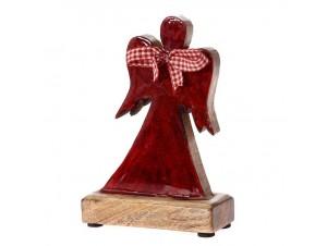 Κόκκινο ξύλινο Χριστουγεννιάτικο Αγγελάκι 15 x 19 εκ.