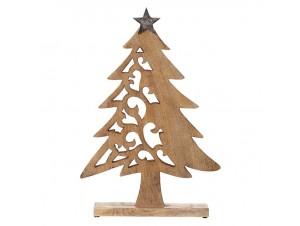 Σκαλιστό Χριστουγεννιάτικο Ξύλινο Διακοσμητικό Δέντρο 36 x 53 εκ.