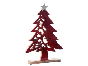 Χριστουγεννιάτικο Διακοσμητικό Δέντρο από σκαλιστό ξύλο 36 x 42 εκ.