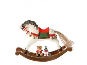 Χριστουγεννιάτικο Διακοσμητικό Κουνιστό Αλογάκι 19 x 5 x 13 εκ.