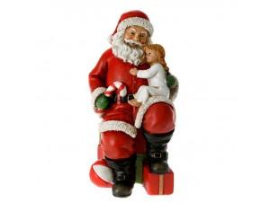 Χριστουγεννιάτικο διακοσμητικό Άγιος Βασίλης με Παιδί 10 x 10 x 18 εκ.