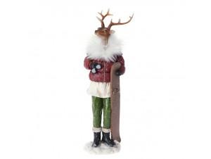 Όρθιος Ντυμένος Χριστουγεννιάτικος Διακοσμητικός Τάρανδος 11 x 35 εκ.