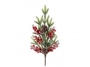 Χιονισμένο Χριστουγεννιάτικο Διακοσμητικό Κλαδί με Γκυ 60 εκ.