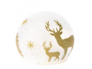 Φωτιζόμενη Γυάλινη Χριστουγεννιάτικη Μπάλα 12 εκ.