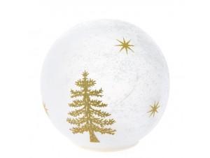 Γυάλινη Φωτιζόμενη Χριστουγεννιάτικη Μπάλα 10 εκ.