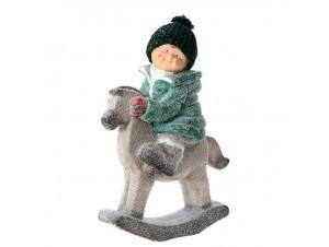 Χριστουγεννιάτικο Διακοσμητικό Αγόρι σε Άλογο 40 x 20 x 55 εκ.