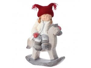 Χριστουγεννιάτικο Διακοσμητικό Κορίτσι σε Άλογο 39 x 23 x 55 εκ.