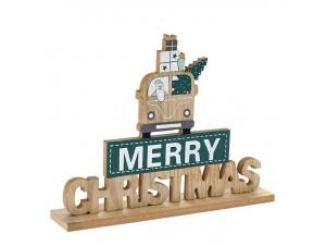 Ξύλινο Χριστουγεννιάτικο Επιτραπέζιο Διακοσμητικό με Ευχή 27 x 21 εκ.