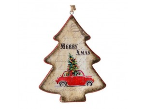 Ξύλινο Ρετρό Χριστουγεννιάτικο Στολίδι Δέντρο 13 εκ.