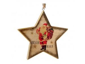 Ξύλινο Ρετρό Χριστουγεννιάτικο Στολίδι Αστέρι 13 εκ.