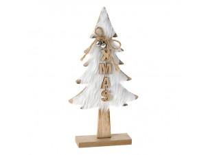 Ξύλινο Χριστουγεννιάτικο Διακοσμητικό Δεντράκι με Γούνα 16 x 4 x 31 εκ.