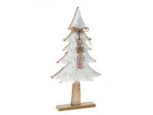 Ξύλινο Χριστουγεννιάτικο Διακοσμητικό Δεντράκι με Γούνα 22 x 4 x 42 εκ.