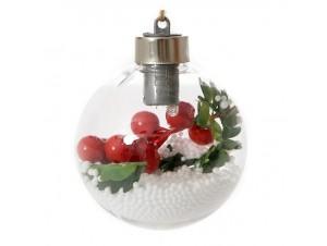 Διάφανη Φωτιζόμενη Χριστουγεννιάτικη Μπάλα 10 εκ.
