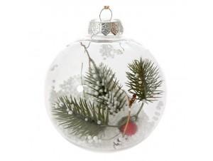 Διάφανη Χριστουγεννιάτικη Μπάλα με Γέμισμα 10 εκ.
