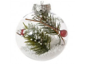 Διάφανη Χριστουγεννιάτικη Μπάλα με Γέμισμα 8 εκ.