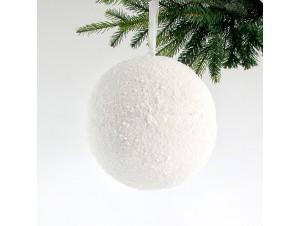 Χιονισμένη Χριστουγεννιάτικη Μπάλα Άσπρη 25 εκ.