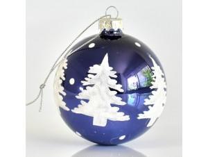 Γυάλινη Μπλε Χριστουγεννιάτικη Μπάλα 8 εκ