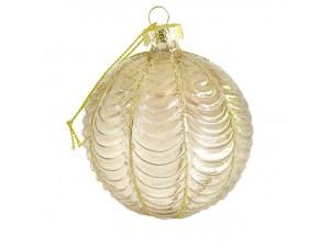Χριστουγεννιάτικη Διάφανη Μπάλα με διακόσμηση 8 εκ.