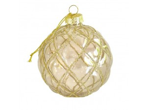 Διάφανη Χριστουγεννιάτικη Ανάγλυφη Μπάλα 8 εκ.