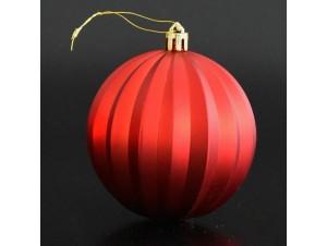 Ανάγλυφη Κόκκινη Χριστουγεννιάτικη Μπάλα 8 εκ.
