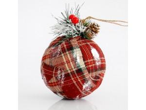 Χριστουγεννιάτικη καρό υφασμάτινη μπάλα 12,5 εκ.