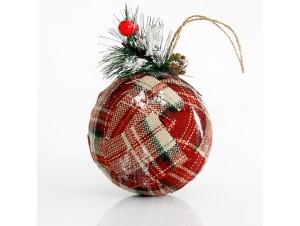 Χριστουγεννιάτικη διακοσμιτική υφασμάτινη μπάλα 10,5 εκ.