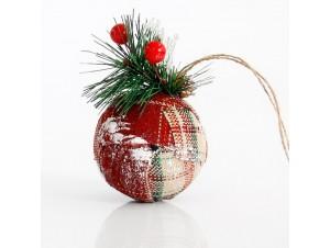 Χριστουγεννιάτικη υφασμάτινη μπάλα διακόσμησης 7 εκ.