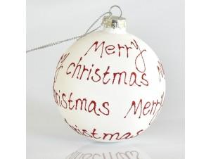 Γυάλινη Άσπρη Χριστουγεννιάτικη μπάλα δέντρου 8 εκ.