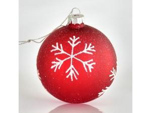 Γυάλινη κόκκινη Χριστουγεννιάτικη μπάλα δέντρου 8 εκ.
