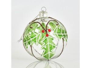 Διάφανη με Πράσινο Χριστουγεννιάτικη μπάλα δέντρου 8 εκ.