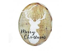 Ξύλινο οβάλ Χριστουγεννιάτικο στολίδι δέντρου 11 εκ.