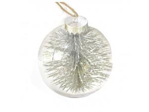 Διάφανη - Γκρι Χριστουγεννιάτικη Μπάλα δέντρου με γέμισμα 8 εκ.