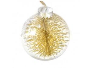 Διάφανη - Χρυσή Χριστουγεννιάτικη Μπάλα δέντρου με γέμισμα 8 εκ.