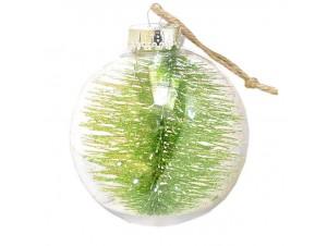 Διάφανη - Πράσινη Χριστουγεννιάτικη Μπάλα δέντρου με γέμισμα 10 εκ.