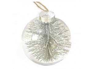 Διάφανη - Γκρι Χριστουγεννιάτικη Μπάλα δέντρου με γέμισμα 10 εκ.