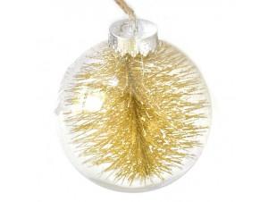 Διάφανη - Χρυσή Χριστουγεννιάτικη Μπάλα δέντρου με γέμισμα 10 εκ.