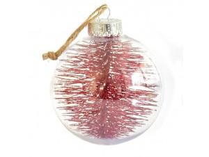 Διάφανη - Κόκκινη Χριστουγεννιάτικη Μπάλα δέντρου με γέμισμα 10 εκ.