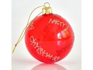 Κόκκινη Χριστουγεννιάτικη μπάλα δέντρου 8 εκ.