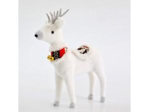 Άσπρος Χριστουγεννιάτικος διακοσμητικός τάρανδος 40 εκ.