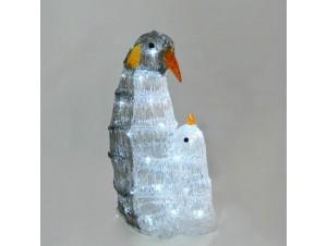 Φωτιζόμενοι 3D Χριστουγεννιάτικοι πιγκουίνοι για διακόσμηση 26 x 19 x 42 εκ.
