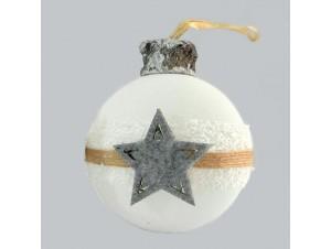Γυάλινη ματ Χριστουγεννιάτικη Μπάλα με σχέδιο 8 εκ.
