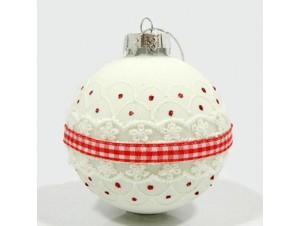 Γυάλινη ματ Χριστουγεννιάτικη Μπάλα με κόκκινη κορδέλα 8 εκ.
