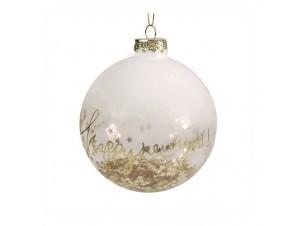 Γυάλινη Χριστουγεννιάτικη Μπάλα με Αστεράκια και Ευχή 10 εκ.