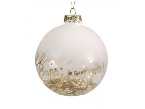 Γυάλινη Χριστουγεννιάτικη Μπάλα με Αστεράκια και Ευχή 12 εκ.