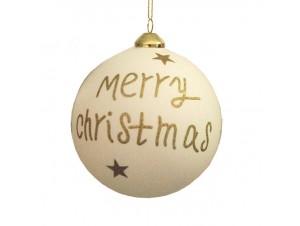 Γυάλινη Χριστουγεννιάτικη Μπάλα με Ευχή 12 εκ.