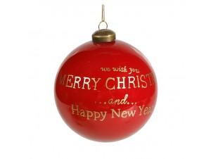 Γυαλιστερή Κόκκινη Χριστουγεννιάτικη Μπάλα με Ευχή 10 εκ.