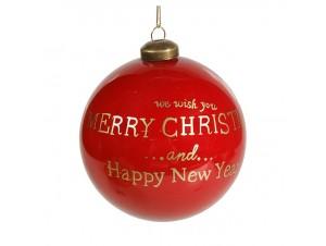 Κόκκινη Χριστουγεννιάτικη γυάλινη Μπάλα με Ευχή 12 εκ.