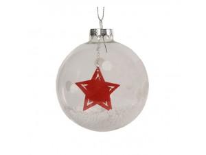 Διάφανη Γυάλινη Χριστουγεννιάτικη Μπάλα με Αστέρι 8 εκ.